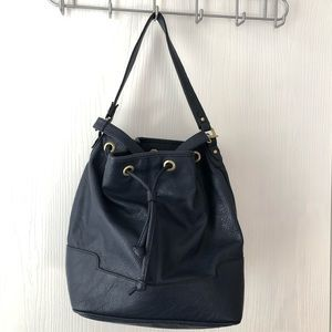Large Navy Bucket Bag w/Crossbody Attachment